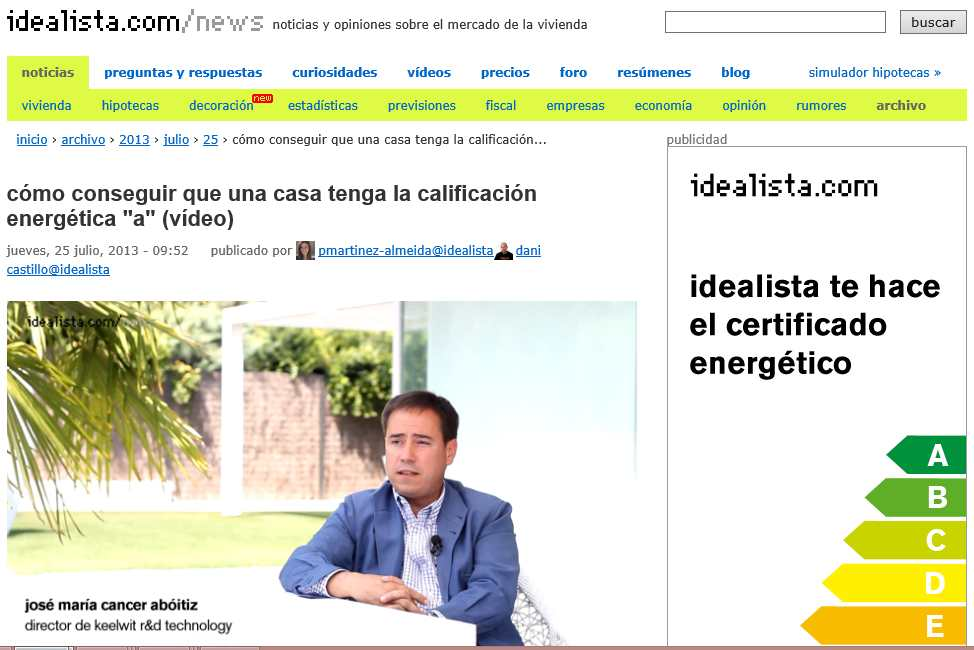 JM Cancer is interviewed in www.idealista.com concerning the Energy Certificate granted to an outstanding property